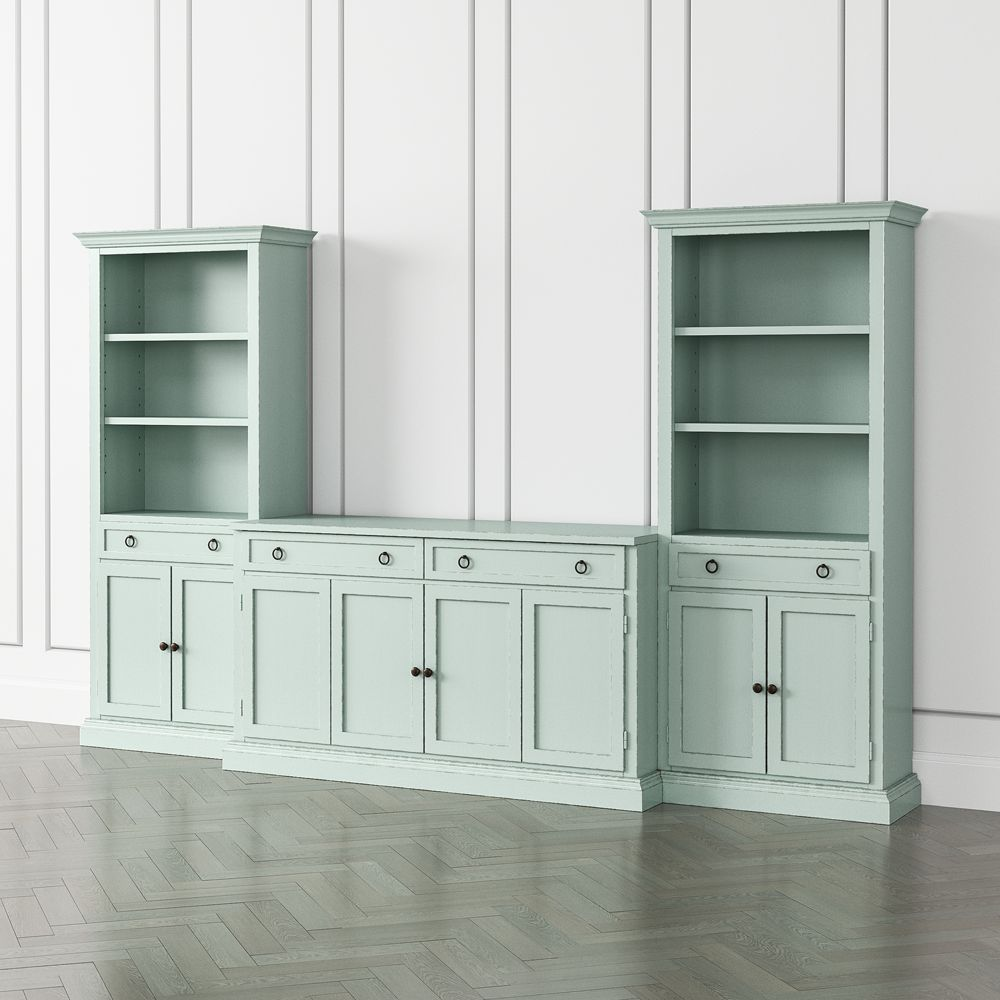 Cameo blue grey 3 piece entertainment center with storage bookcases