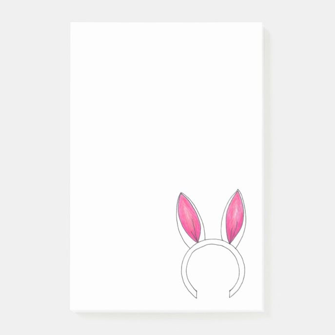 pink white cute easter bunny rabbit ears animal post it notes