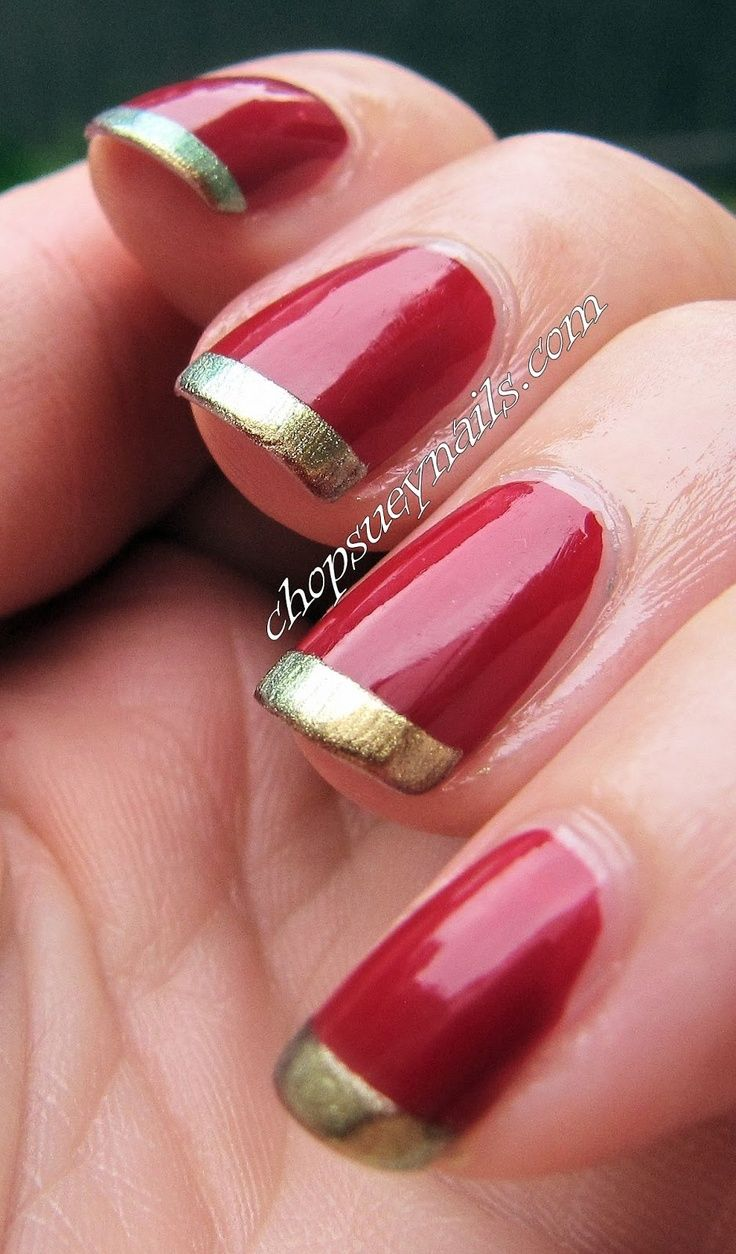 Easy xmas nail art  red with gold french tips  Christmas time