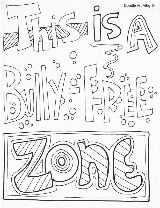 No Bullying Quote Coloring Pages At Classroom Doodles With