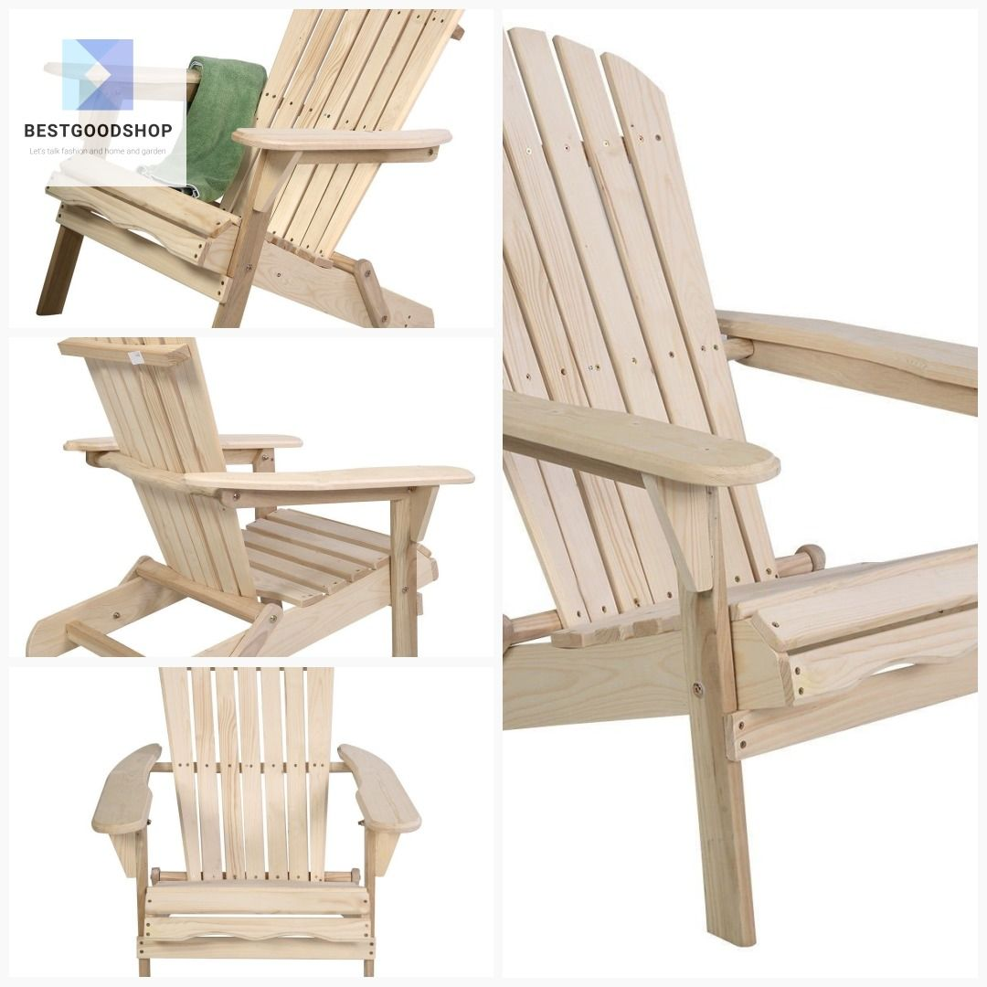 Unfinished Wood Folding Adirondack Chair Outdoor Garden Patio Outdoor Chairs Folding Adirondack Chairs Adirondack Chair