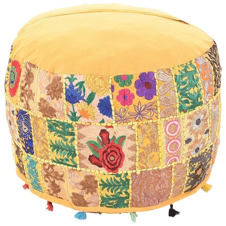 Embroidered Indian Ottoman pouf cover Indian handmade Vintage Yellow Color Decorative Ottoman 22'' Pouf Cover, Sofa Decorative Poufcover