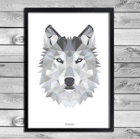 druckbare a4 kunst plakat druck schwarz wei grau wolf. Black Bedroom Furniture Sets. Home Design Ideas