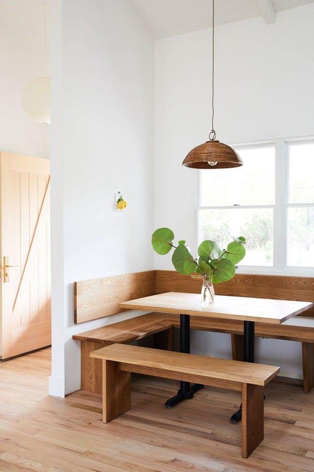 Salas de jantar com banco para apartamentos pequenos