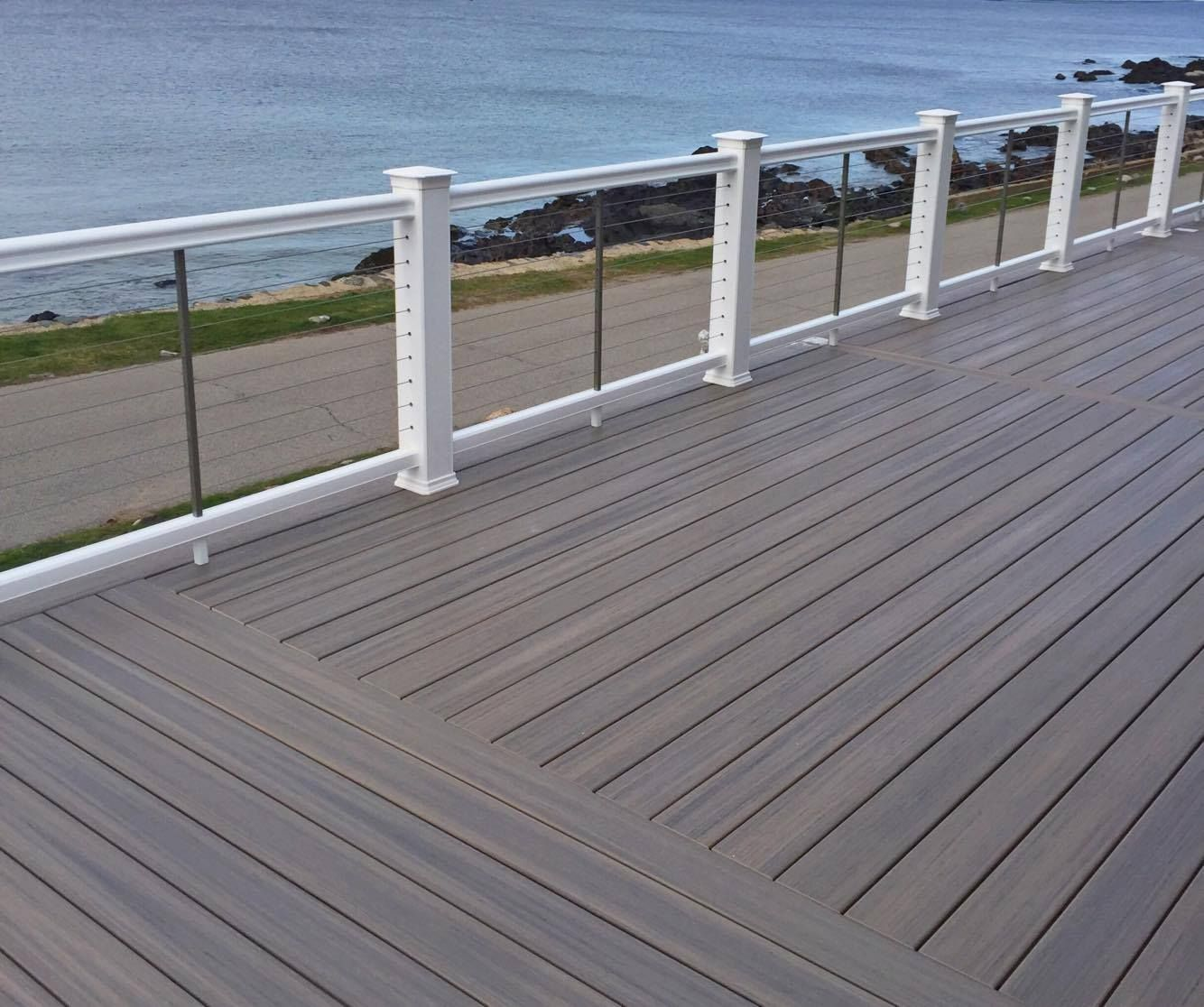 Beautiful View Even More Beautiful Deck This Fiberon Paramount Pvc Decking Is Extremely Resilient And Contains No Organic Conte Railings Outdoor Deck Fiberon