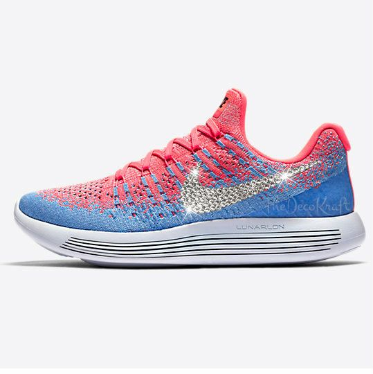 Custom Bling Womens Nike LunarEpic Low Flyknit 2 Hot Punch 109629ddae