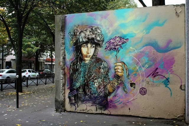 Two new Street Art Pieces by French Stencil Artist C215 On the streets of Paris, France.