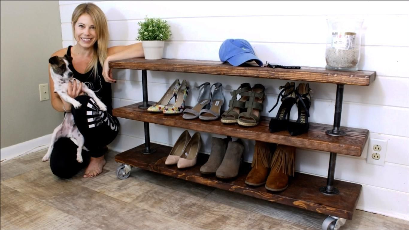 Build A Diy Rustic Industrial Shoe Storage Shelving Unit That Moves Diy Storage Bench Diy Shoe Rack Shoe Storage Shelving