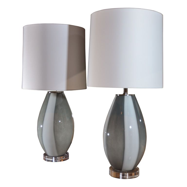 Teo Table Lamp In Grey And White Blown Glass With White Shade 34 H X 16 D Table Lamp Lamp Glass Blowing