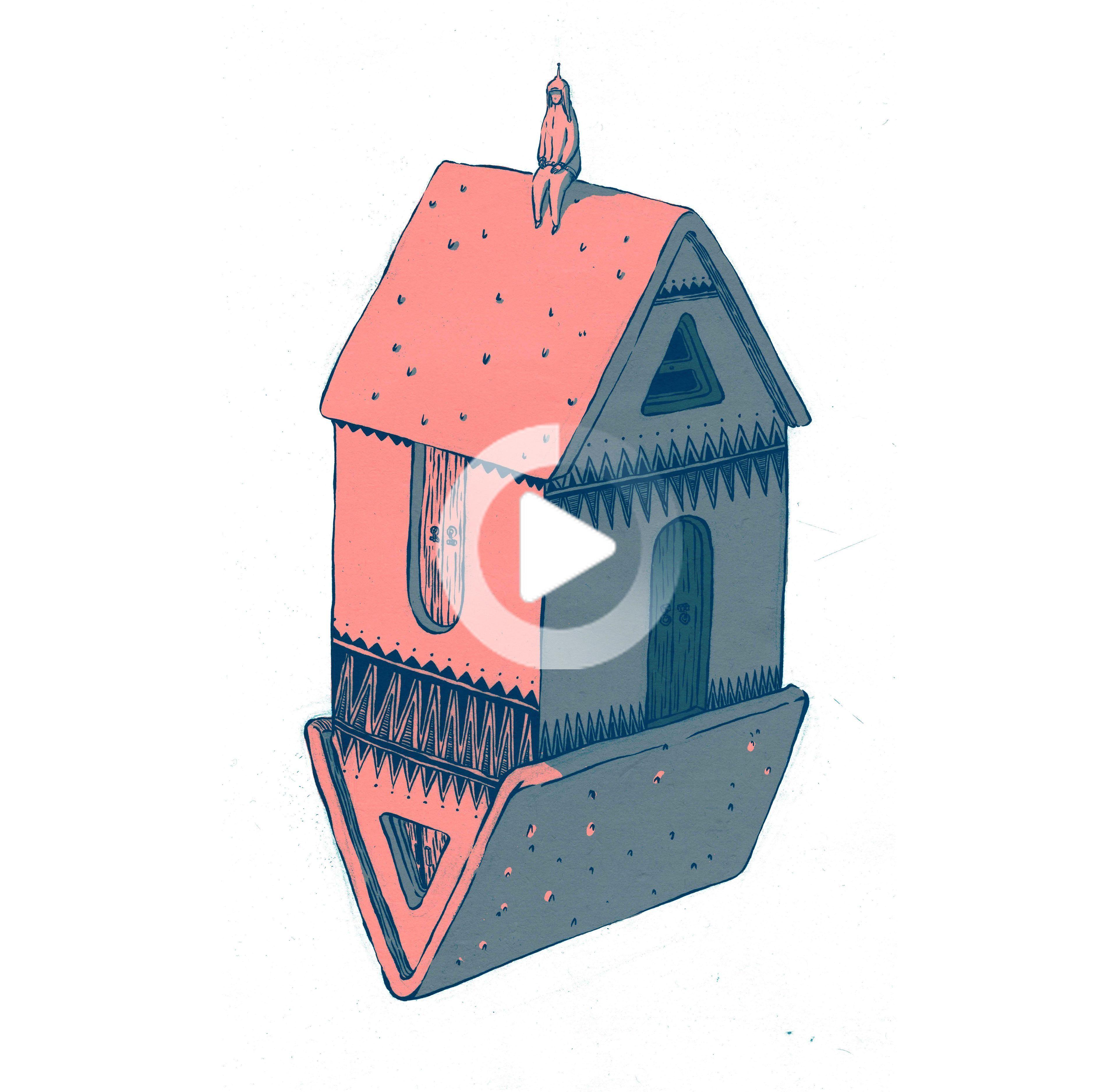 Little House Little Guy Retro Illustration Creative Illustration Illustration