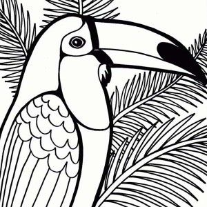 Parrot, Parrot On Coconut Tree Coloring Page: Parrot on Coconut Tree ...