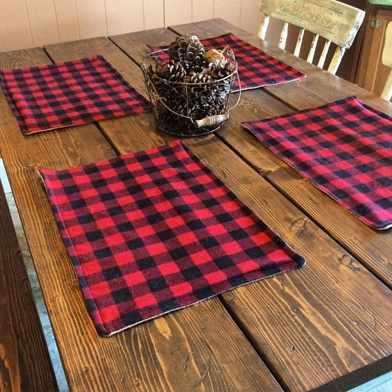 Photo of Buffalo Plaid & Burlap Placemats- Red and Black Check- Lined With Burlap-Cabin Decor- Farmhouse Decor- Lodge Decor-Valentines Day Decor