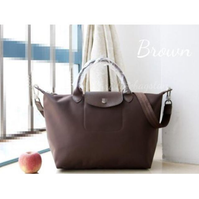 d46f4805be5 Authentic Longchamp Neo Tote Crossbody Bag Medium Short Handle Brown ...