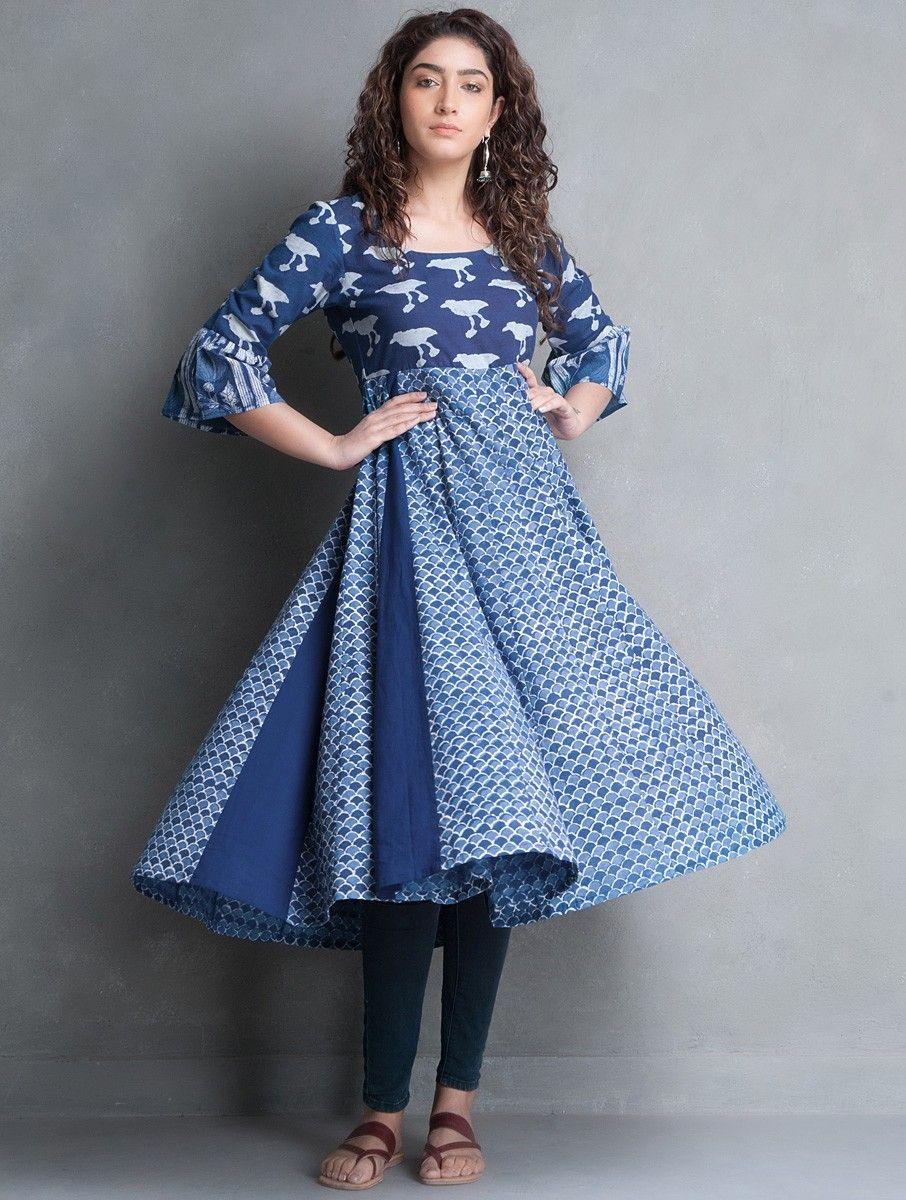 cd6dd6ddae Buy Indigo Bagru Printed Kalidar Cotton Kurta Cottonn Online at Jaypore.com