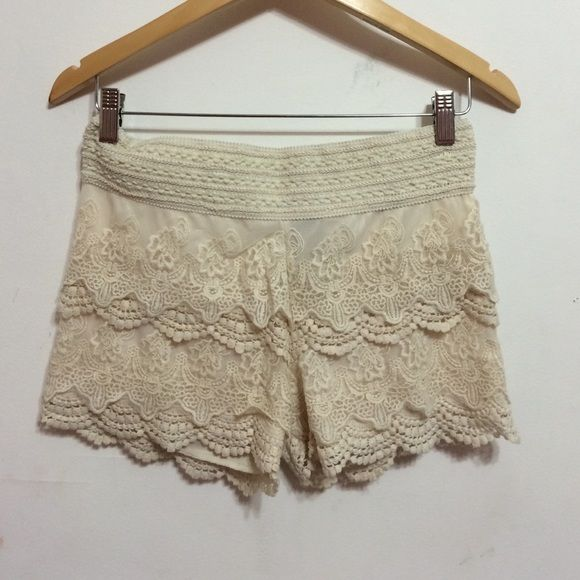 LACE TAN SHORTS Cute banded tan lace shorts. Girly and fun. Perfect for those fun summer days! ☀️ Whispers Shorts