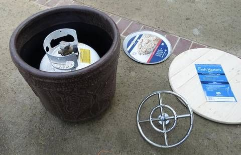 A Flower Pot Enough To Hold Propane Tank Circular Wooden Table Top Pizza Pan And Fire Pit Kit Are Needed Make Portable Backyard