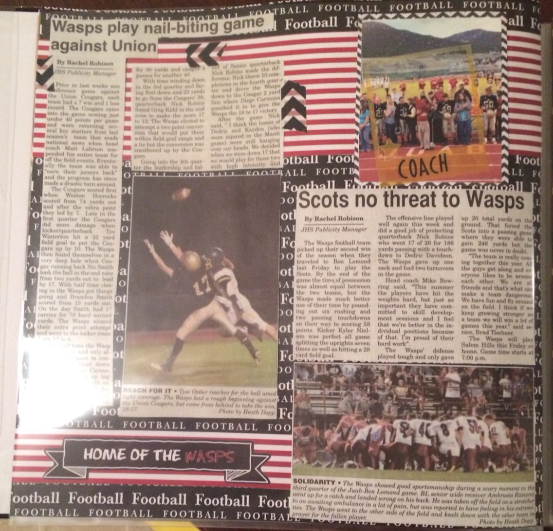 Scrapbook ideas newspaper articles - Sports Scrapbook Scrapbook With Newspaper Clippings Football Scrapbook Layouts