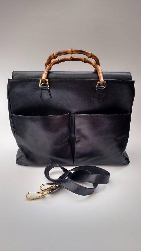 GUCCI Bamboo Vintage Black Leather Tote Bag. Italian designer purse ... 6c457e8bb2