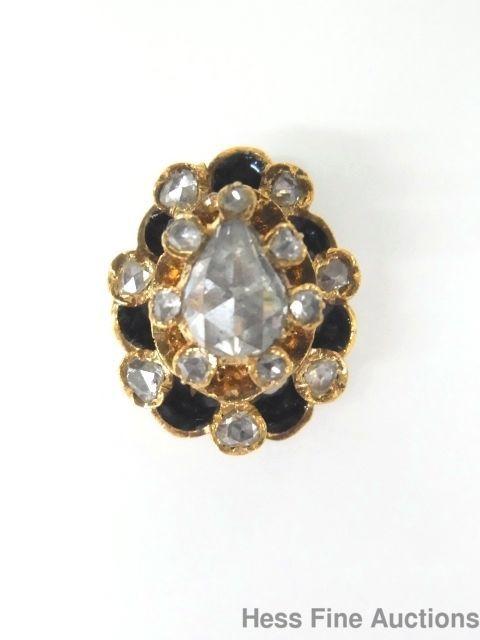 e66ddbf527d1 Antique Massive Hinged Rose Cut Diamond 14k Gold Tie Tack Lapel Pin ...