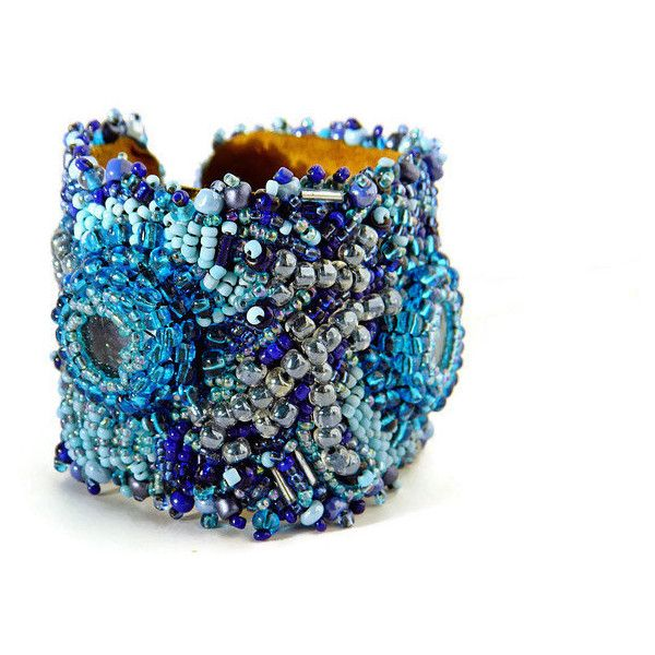 Blue Bead Embroidery Boho Cuff bracelet, Blue Beaded Bohemian Glass beads Bracelet, Gypsy Statement bracelet, Boho Chic, OOAK Gift for Her ($110) found on Polyvore featuring women's fashion, jewelry, bracelets, cuff bangle, bohemian bangles, bohemian jewelry, gypsy jewelry and hinged cuff bracelet