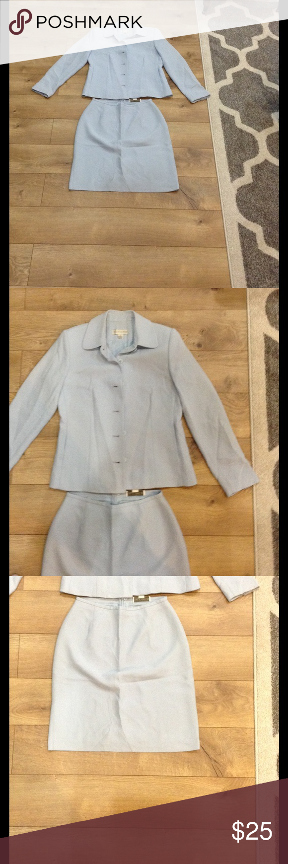 Casual corner light blue suit Casual corner light blue suit. Size 4. A few stains all which are pictured shown in pics 4 and 5. Very nice for an event or work. casual corner Other