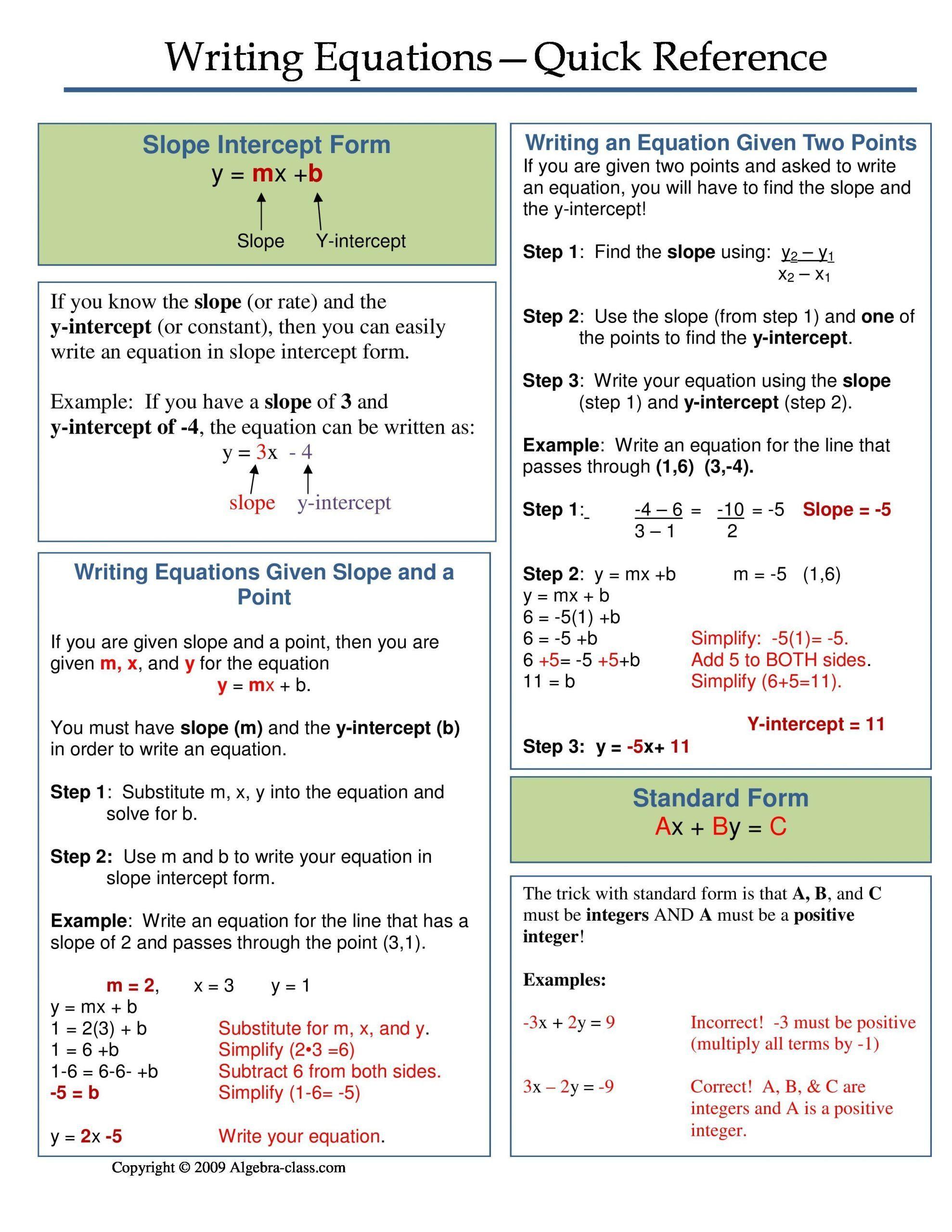 Writing A Function Rule Worksheet E Page Notes Worksheet For Writing Equations Unit In 2020 Writing Equations Teaching Algebra Teaching Math