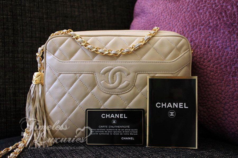 CHANEL Beige Clair Lambskin Sac Camera Bag w/ Tassel Gold Hw