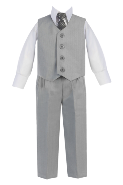 Spring Notion Big Boys Two-Button Suit Light Grey 10 Vest and Pants