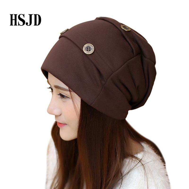 4e8bfe67fb8 2018 brand Women Men Cotton Hat Button Decorate Hip Hop Caps Unisex Fashion  Autumn Winter Hip-hop Beanies male female Punk Cap. Yesterday s price  US   8.40 ...