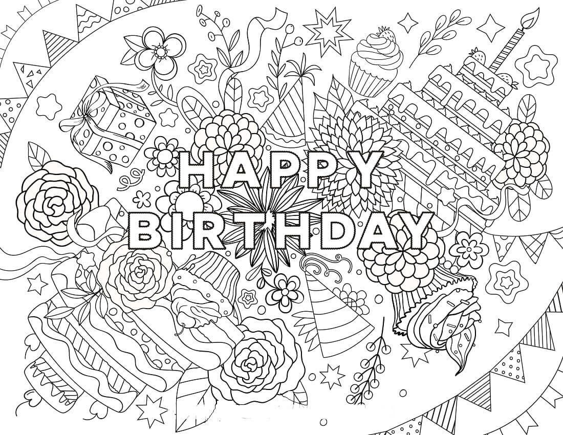 Hard Happy Birthday Coloring Pages Happy Birthday Coloring Pages Birthday Coloring Pages Coloring Birthday Cards
