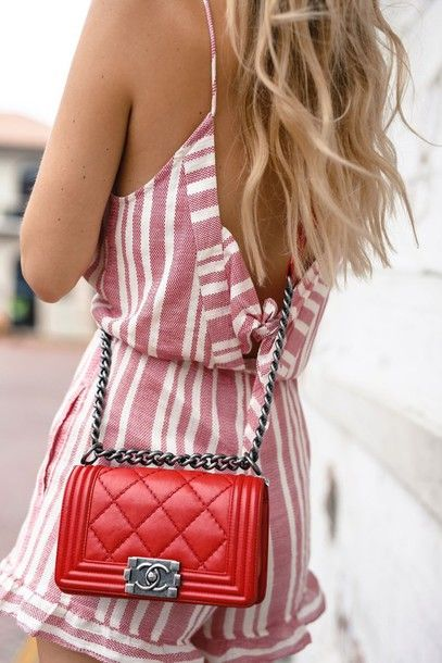 Bag  tumblr red hair chanel chanel chanel boy designer quilted romper  stripes chain backless pattern 49e886671092f