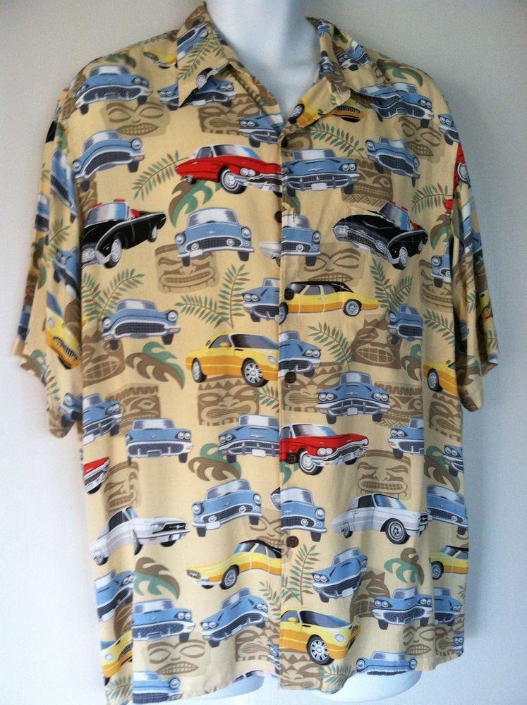 bd292cb26 Reyn Spooner Hawaiian Shirt Tiki Thunderbird Cars Design Coconut Buttons # thunderbird #ReynSpooner #Hawaiian