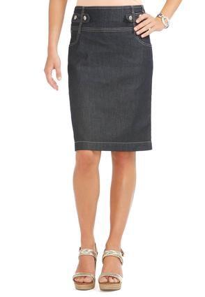 15dbae562815f Cato Fashions Tab Waist Dressy Denim Skirt
