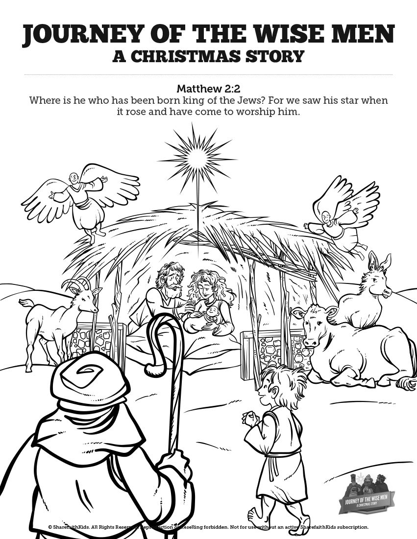 Matthew 29 The Magi Christmas Story Sunday School Coloring Pages