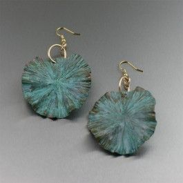 Let fashion bloom year-round with these Apple Green Patinated Copper Lily Pad earrings.