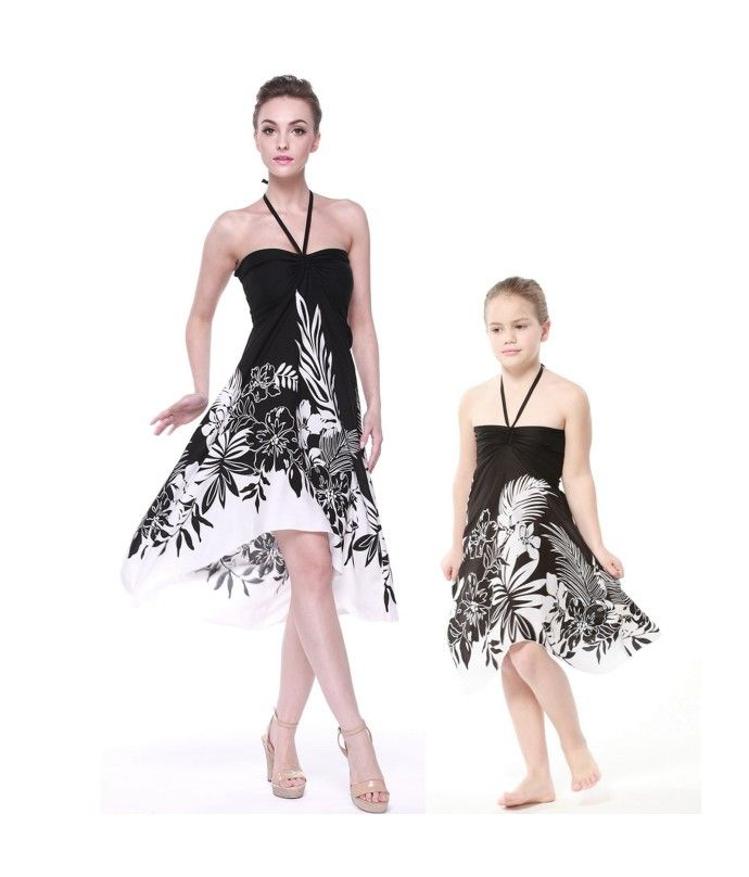 Matching Mother and Daughter Women and Girl Butterfly Dresses in Indri Black