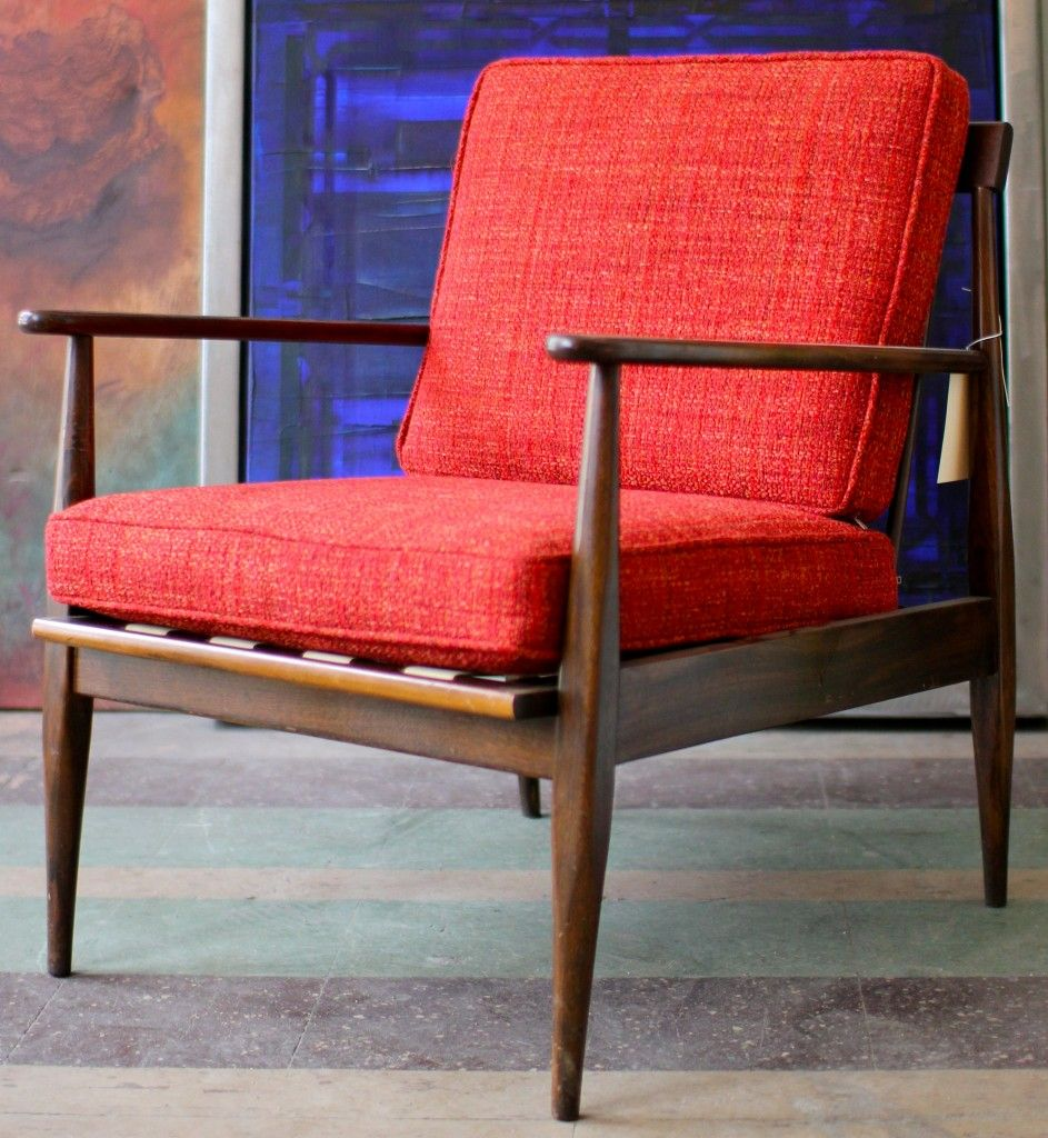 Reupholstered Red Chair Mid Century Modern Chair Retro Chair