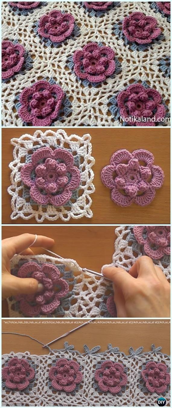 Crochet Beginner Easy Flower Blanket Free Pattern Video - #Crochet ...