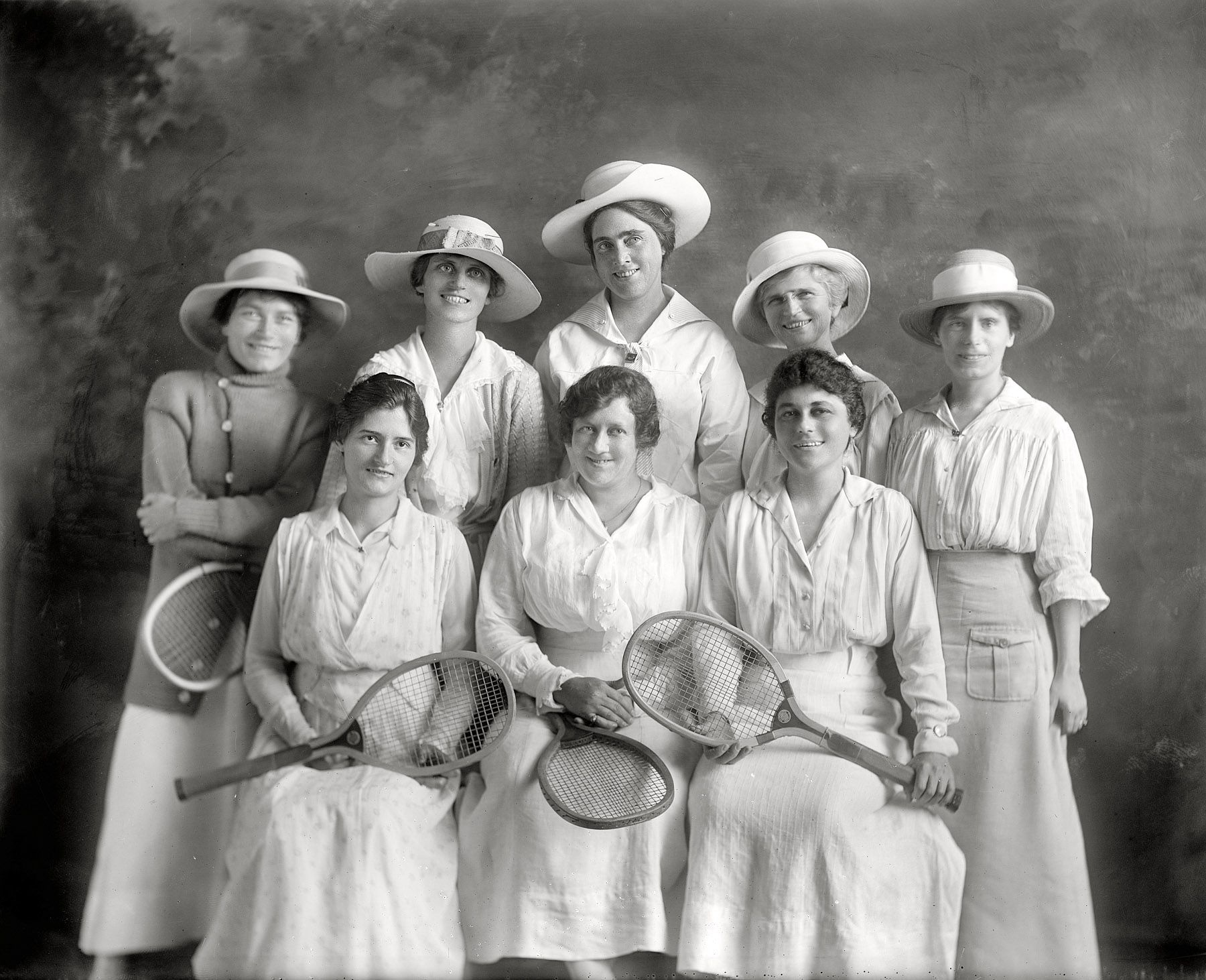 "Tennis, Anyone?:  Washington, D.C., circa 1915. ""Women's tennis league section leaders."" Harris & Ewing Collection glass negative. Click to view full size."