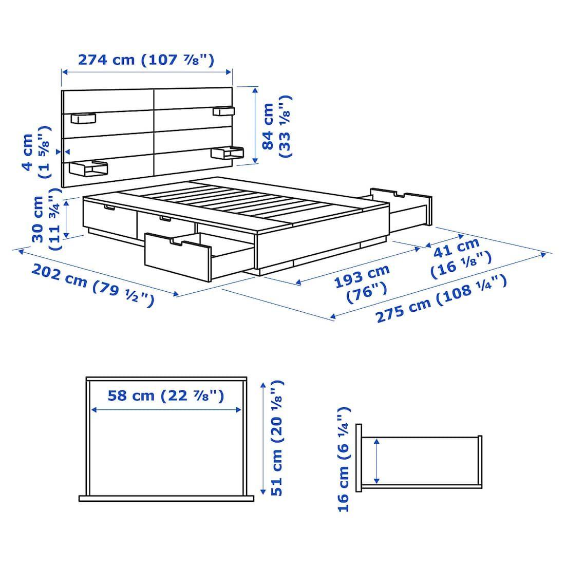 Nordli Bed With Headboard And Storage White King Derevyannye Krovati Dizajny Krovati Sovremennye Krovati