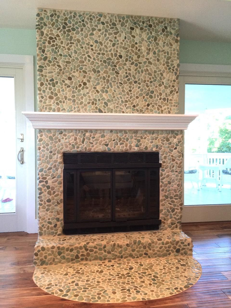 Sea green pebble tile fireplace surround hearth. https://www ...