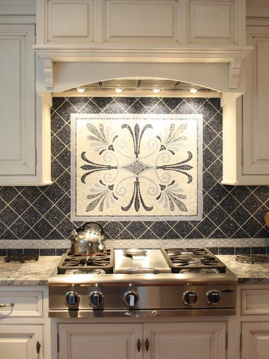 Kitchen Ceramic Backsplash Tile Ideas Black With Mosaic Medalion