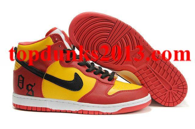 Cheap OS Prenium Red Yellow White Nike Dunk High Top Men Free Shipping