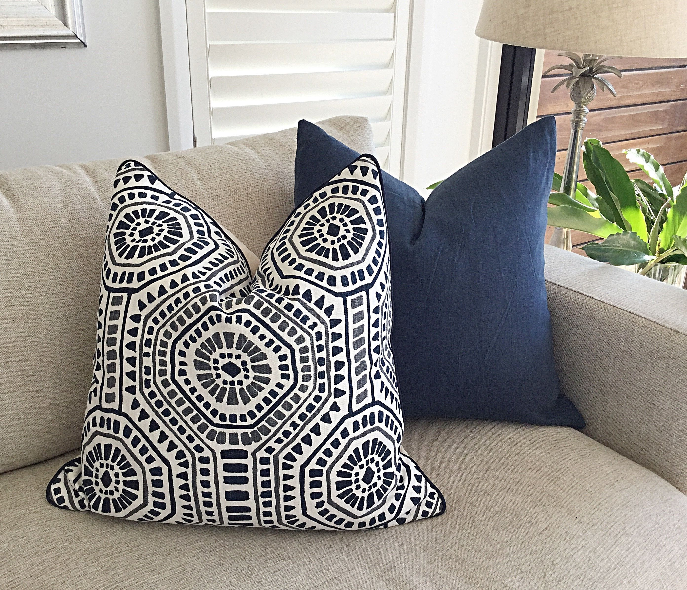 Navy Cushions Boho Style Cushion Cover Moroccan Tile Blue Scatter Cushions Linen Navy Blue Toss Pillow Covers Navy Blue Pillows Blue Toss Pillows Blue Couch Pillows