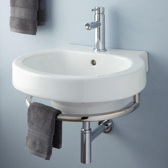 Superb Alia Wall Mount Sink With Chrome Towel Bar