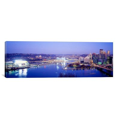 "East Urban Home Panoramic Pittsburgh, Pennsylvania Photographic Print on Canvas Size: 12"" H x 36"" W x 1.5"" D"