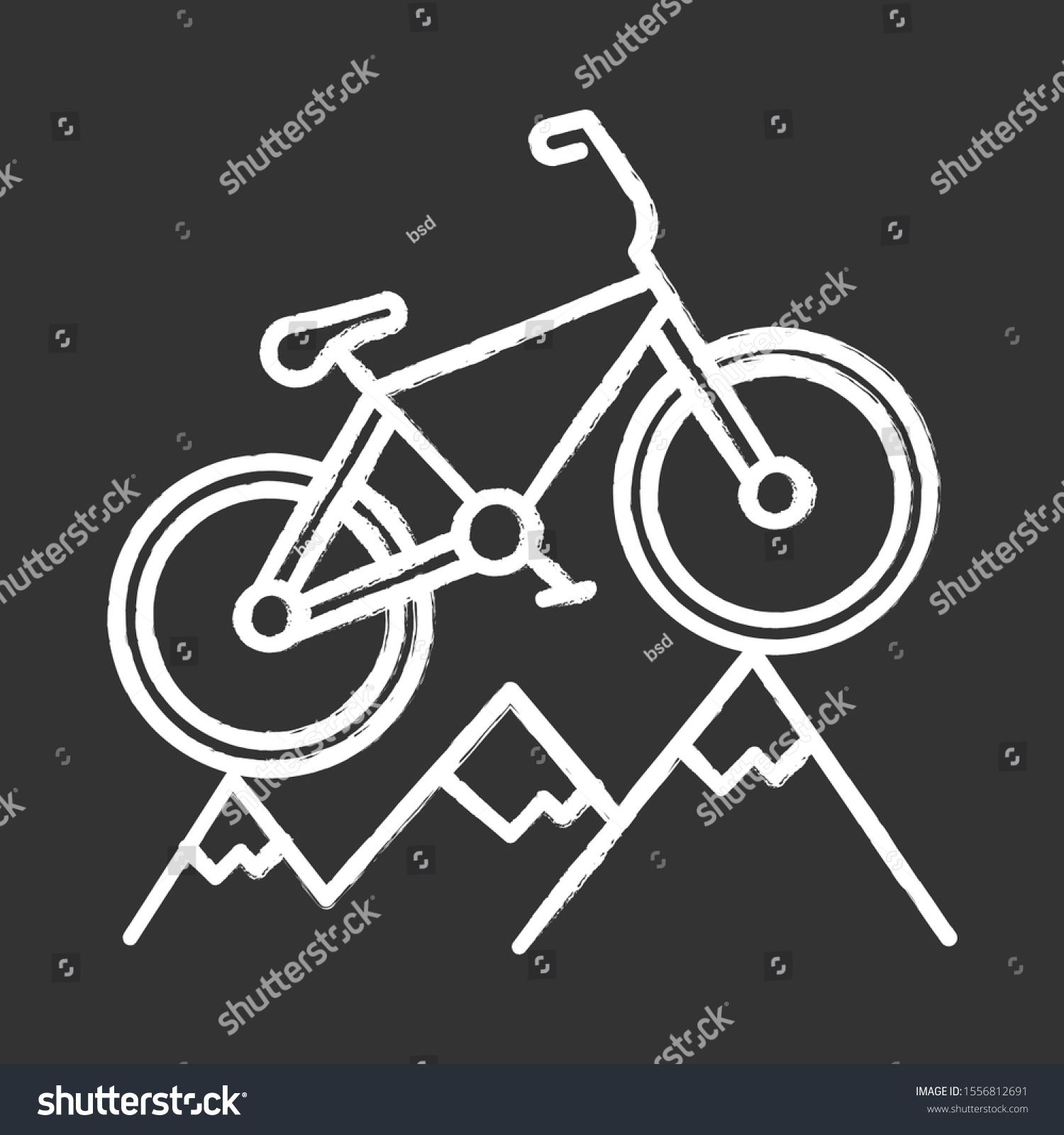 mountain cycling chalk icon crosscountry downhill Royalty