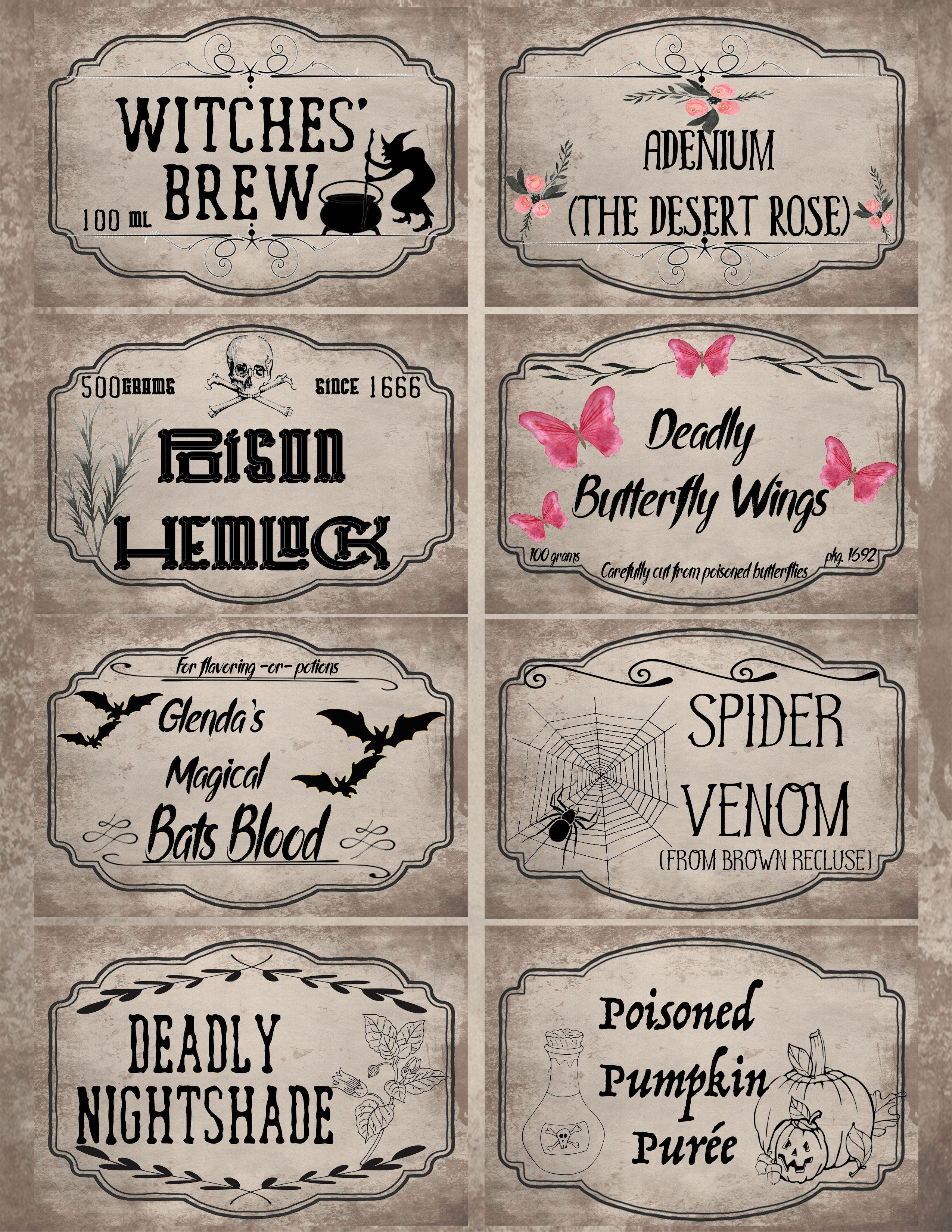 photo regarding Free Printable Halloween Poison Bottle Labels called Free of charge Printable Halloween Apothecary Labels: 16 Plans additionally