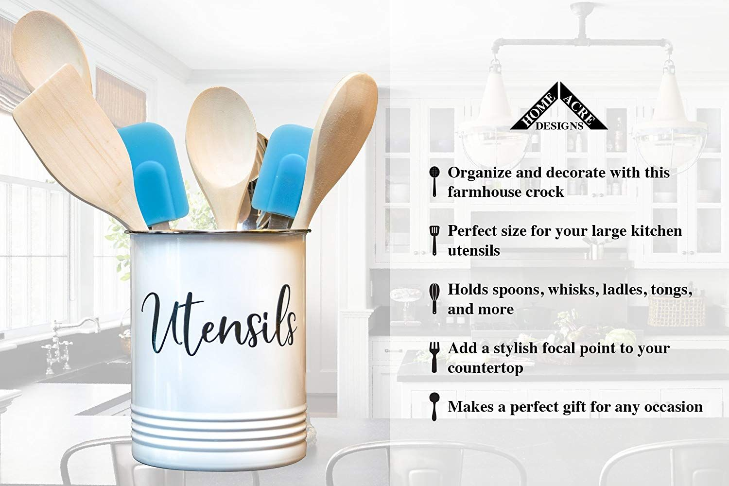 Amazon.com: Kitchen Utensil Holder-Farmhouse Kitchen Décor ...