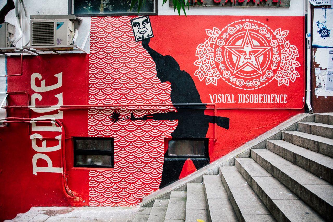 Shepard Fairey Civil Disobedience Mural Hong Kong 2016 Political Art Shepard Fairey Social Art